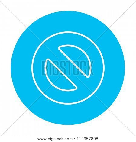 Not allowed sign line icon for web, mobile and infographics. Vector white icon on the light blue circle isolated on white background.