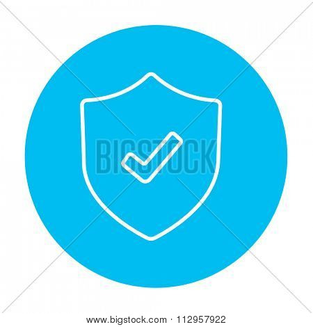 Shield with check mark line icon for web, mobile and infographics. Vector white icon on the light blue circle isolated on white background.