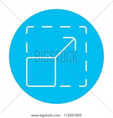 Scalability line icon for web, mobile and infographics. Vector white icon on the light blue circle isolated on white background.