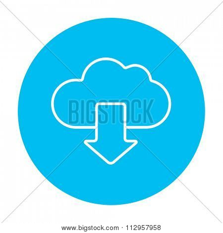Cloud with arrow down line icon for web, mobile and infographics. Vector white icon on the light blue circle isolated on white background.