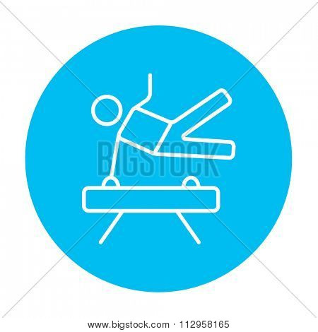 Gymnast exercising on the pommel horse line icon for web, mobile and infographics. Vector white icon on the light blue circle isolated on white background.