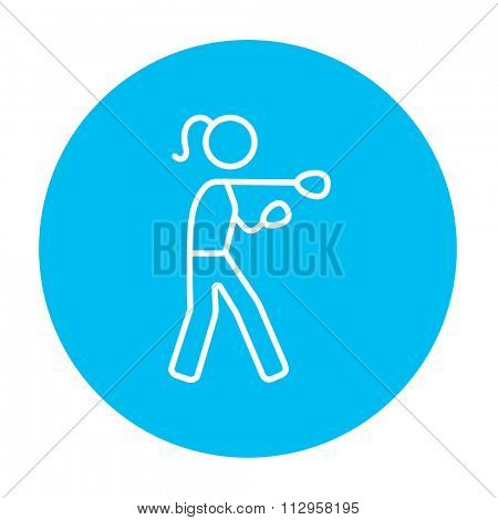 Female boxer line icon for web, mobile and infographics. Vector white icon on the light blue circle isolated on white background.