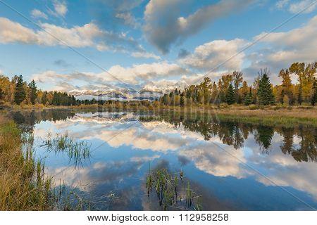 Teton Sunrise Fall Reflection