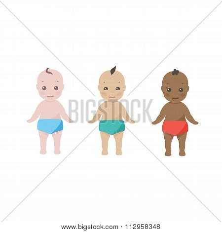 Three happy babies  toddlers of different ethnicities