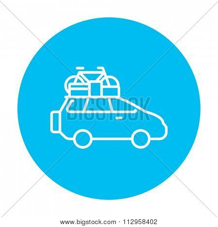 Car with bicycle mounted to the roof line icon for web, mobile and infographics. Vector white icon on the light blue circle isolated on white background.