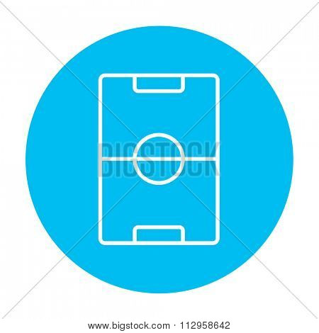 Stadium layout line icon for web, mobile and infographics. Vector white icon on the light blue circle isolated on white background.