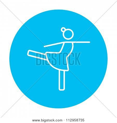 Female figure skater line icon for web, mobile and infographics. Vector white icon on the light blue circle isolated on white background.