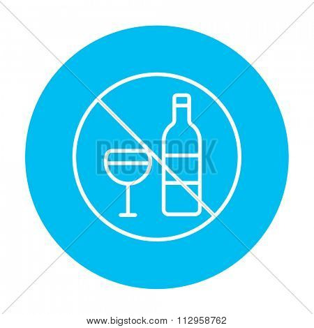 No alcohol sign line icon for web, mobile and infographics. Vector white icon on the light blue circle isolated on white background.