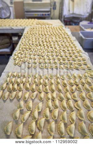 Industrial Dumplings Production Before Cooking.