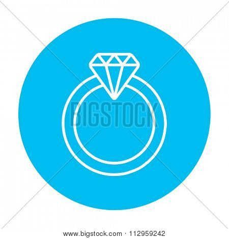 Diamond ring line icon for web, mobile and infographics. Vector white icon on the light blue circle isolated on white background.