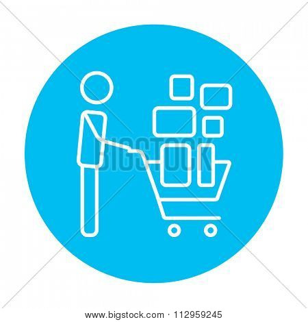 Man pushing shopping cart with boxes line icon for web, mobile and infographics. Vector white icon on the light blue circle isolated on white background.