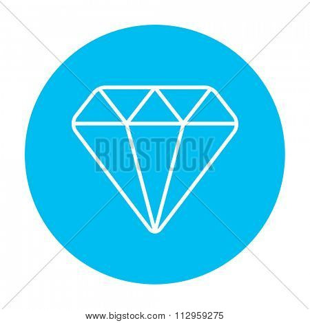 Diamond line icon for web, mobile and infographics. Vector white icon on the light blue circle isolated on white background.