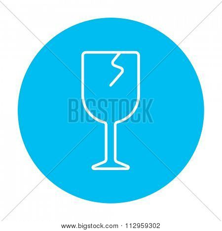 Cracked glass line icon for web, mobile and infographics. Vector white icon on the light blue circle isolated on white background.