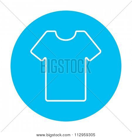 T-shirt line icon for web, mobile and infographics. Vector white icon on the light blue circle isolated on white background.