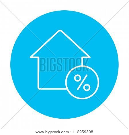 House with discount tag line icon for web, mobile and infographics. Vector white icon on the light blue circle isolated on white background.