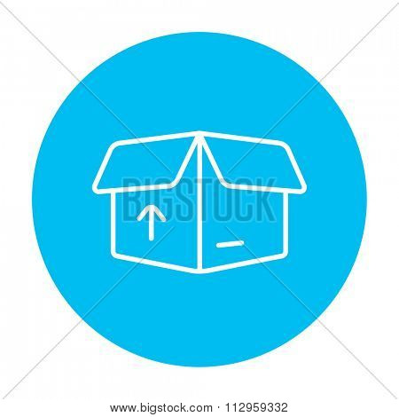 Open carton package box with arrow up line icon for web, mobile and infographics. Vector white icon on the light blue circle isolated on white background.