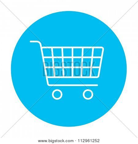 Shopping cart line icon for web, mobile and infographics. Vector white icon on the light blue circle isolated on white background.