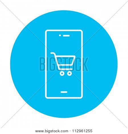 Mobile phone with shopping cart on a screen line icon for web, mobile and infographics. Vector white icon on the light blue circle isolated on white background.