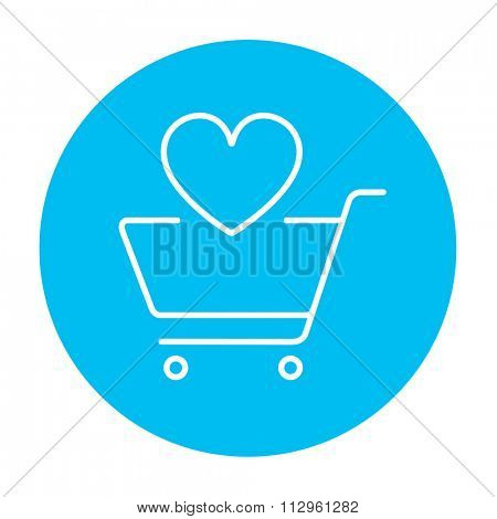 Shopping cart with heart shape line icon for web, mobile and infographics. Vector white icon on the light blue circle isolated on white background.