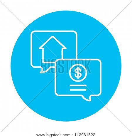 Real estate transaction line icon for web, mobile and infographics. Vector white icon on the light blue circle isolated on white background.