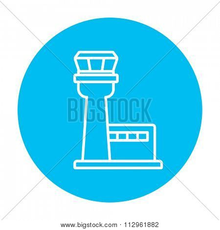 Flight control tower line icon for web, mobile and infographics. Vector white icon on the light blue circle isolated on white background.