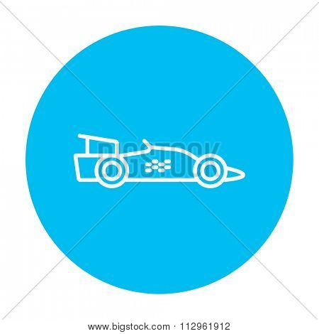 Race car line icon for web, mobile and infographics. Vector white icon on the light blue circle isolated on white background.