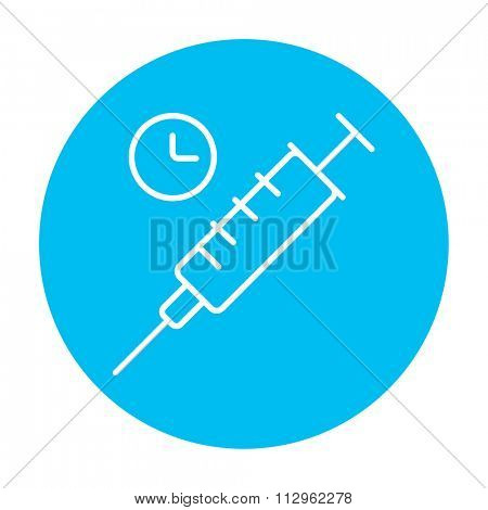 Syringe with clock line icon for web, mobile and infographics. Vector white icon on the light blue circle isolated on white background.