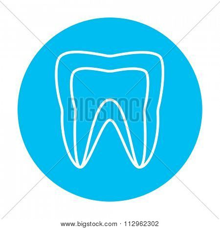 Molar tooth line icon for web, mobile and infographics. Vector white icon on the light blue circle isolated on white background.