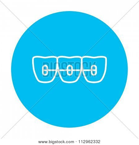 Orthodontic braces line icon for web, mobile and infographics. Vector white icon on the light blue circle isolated on white background.