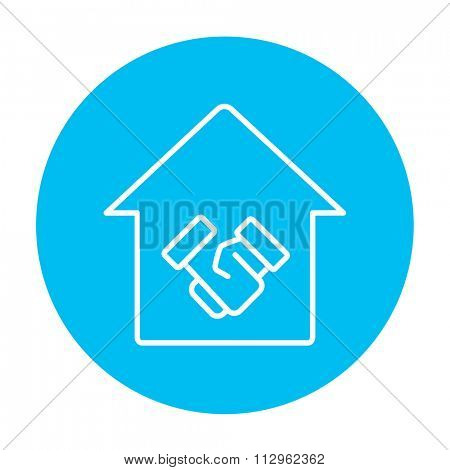 Handshake and successful real estate transaction line icon for web, mobile and infographics. Vector white icon on the light blue circle isolated on white background.