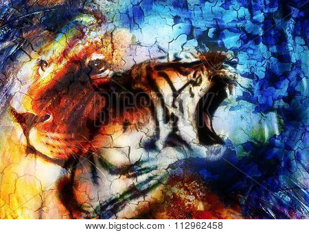 portrait lion and Tiger face, profile portrait, on colorful abstract  background. Abstract color col