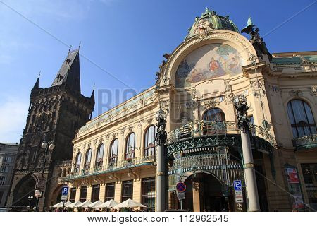 Art Nouveau Building, Municipal House, Prague, Czech Republic.