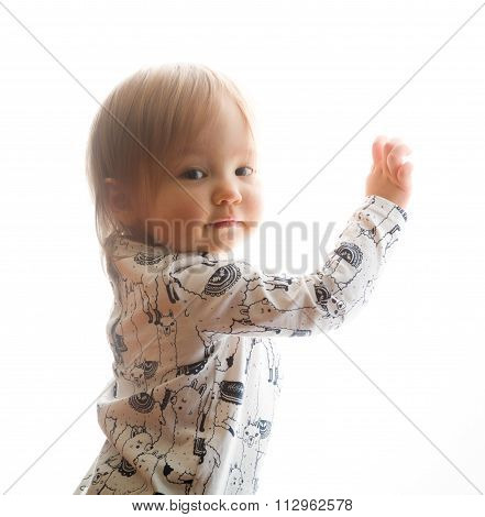 Isolated Head And Shoulders Portrait Of Caucasian Baby Girl