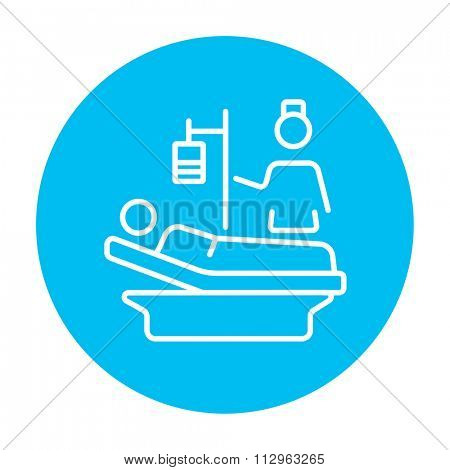 Nurse attending a patient lying on the bed line icon for web, mobile and infographics. Vector white icon on the light blue circle isolated on white background.