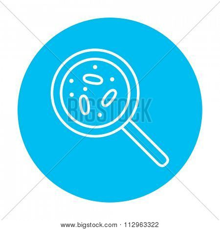 Microorganisms under magnifier line icon for web, mobile and infographics. Vector white icon on the light blue circle isolated on white background.