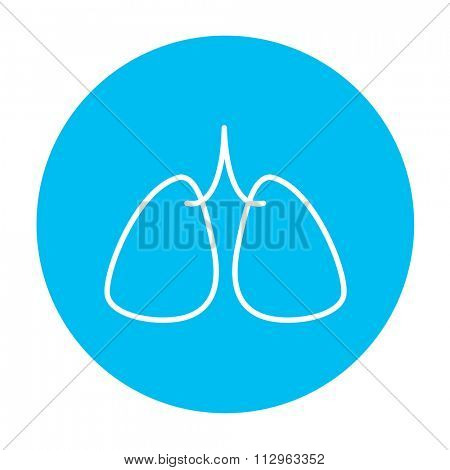 Lungs line icon for web, mobile and infographics. Vector white icon on the light blue circle isolated on white background.