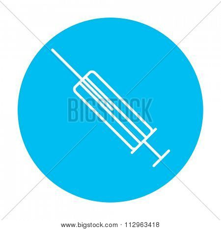Syringe line icon for web, mobile and infographics. Vector white icon on the light blue circle isolated on white background.