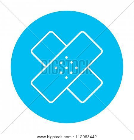 Adhesive bandages line icon for web, mobile and infographics. Vector white icon on the light blue circle isolated on white background.