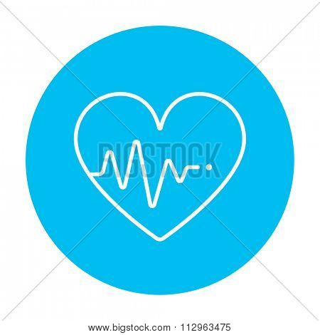 Heart symbol with cardiogram line icon for web, mobile and infographics. Vector white icon on the light blue circle isolated on white background.