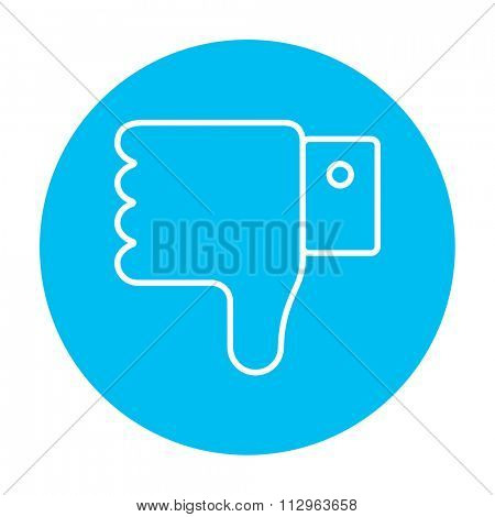 Thumb down hand sign line icon for web, mobile and infographics. Vector white icon on the light blue circle isolated on white background.
