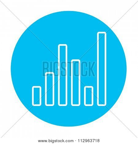 Equalizer line icon for web, mobile and infographics. Vector white icon on the light blue circle isolated on white background.