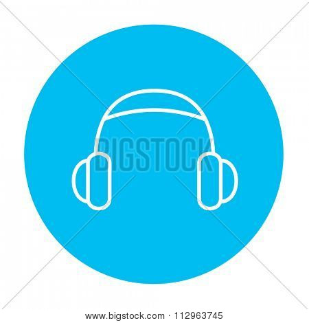 Headphone line icon for web, mobile and infographics. Vector white icon on the light blue circle isolated on white background.