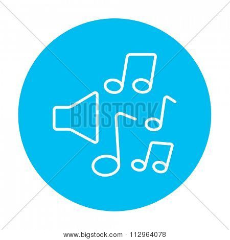 Loudspeakers with music notes line icon for web, mobile and infographics. Vector white icon on the light blue circle isolated on white background.