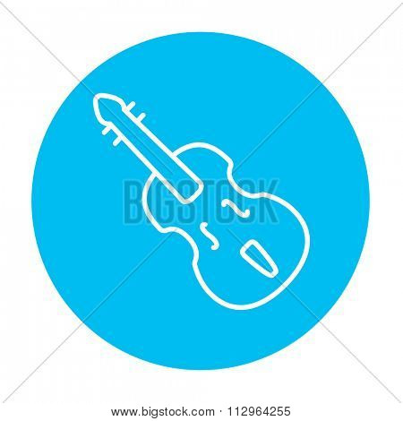 Cello line icon for web, mobile and infographics. Vector white icon on the light blue circle isolated on white background.