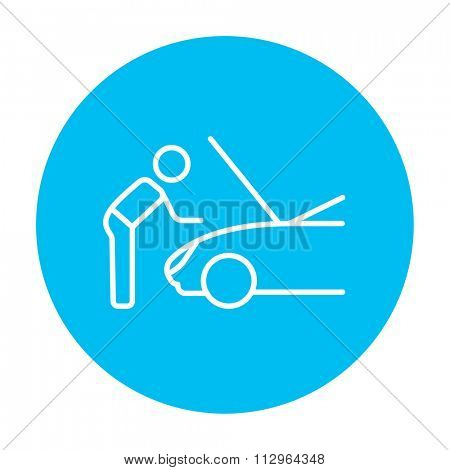 Man fixing car line icon for web, mobile and infographics. Vector white icon on the light blue circle isolated on white background.