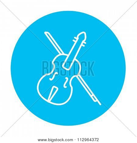 Violin with bow line icon for web, mobile and infographics. Vector white icon on the light blue circle isolated on white background.