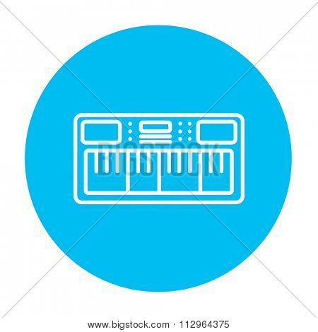 Synthesizer line icon for web, mobile and infographics. Vector white icon on the light blue circle isolated on white background.