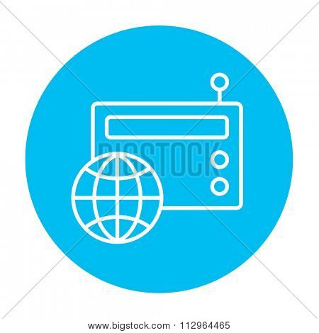 Retro radio with globe line icon for web, mobile and infographics. Vector white icon on the light blue circle isolated on white background.