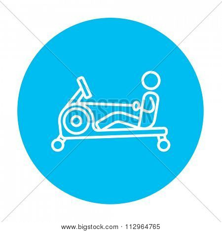 Man exercising with gym apparatus line icon for web, mobile and infographics. Vector white icon on the light blue circle isolated on white background.
