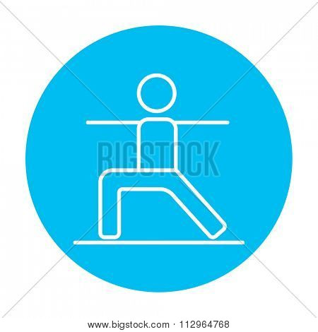 Man in the virabhadrasana II pose line icon for web, mobile and infographics. Vector white icon on the light blue circle isolated on white background.